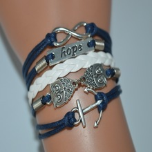 Multi Strand White Navy Leather Rope Silver Cuff Charm Bracelet & Bangles Hot Selling Women Men Anchor Owl Hope Infinity Jewelry(China)