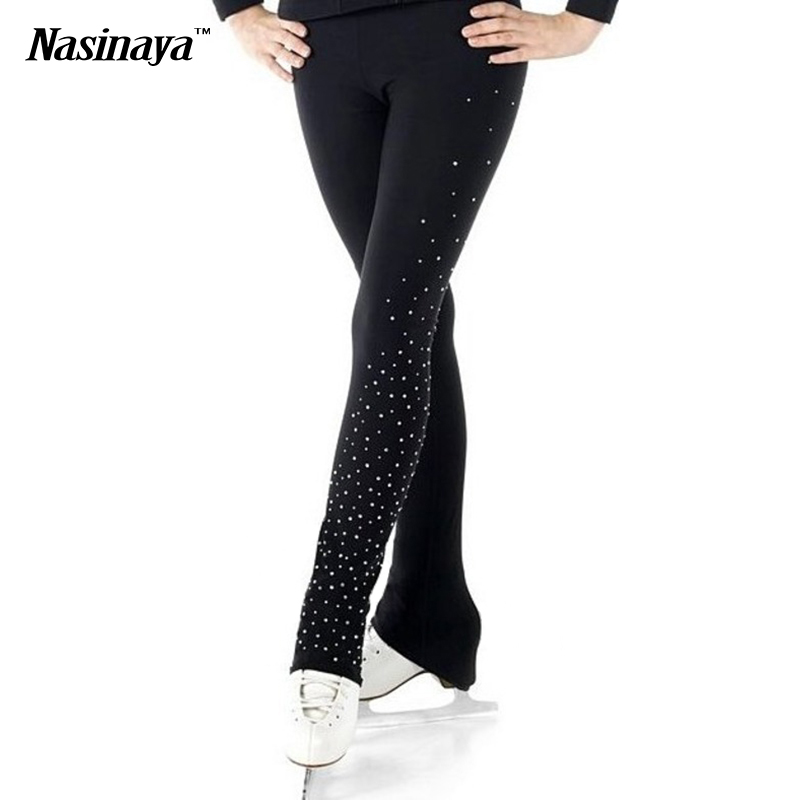 Customized Ice Figure Skating Costume Gymnastics Trousers Adult Child Competition Performance Pants Left Leg Rhinestone<br><br>Aliexpress