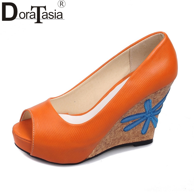DoraTasia Womens Flower High Heel Wedge Summer Shoes Woman Peep Toe Platform Party Wedding Bridal Pumps Big Size 34-43<br>
