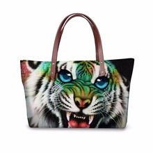 FORUDESIGNS Tiger Shoulder Bags for Women Cute Handbags Famous Brand Cute Monkey Animal Printing Lady Tote Top-handle Bags Bolsa(China)