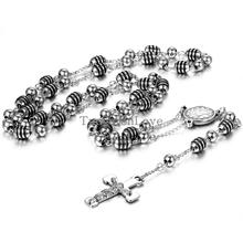 New Vintage Black Rosary Jesus Christ Crucifix Necklacce Stainless Steel Bead Chain long necklaces pendants for Men Women 84cm(China)