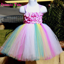 Baby Toddler Infants Girls Kids Party Rainbow Tutu Meh Tulle Tutu Dress Handmade Flower Girl Dress Costumes Wedding Easter Dress