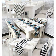 1 PCS Table Runners Geometric Wave Lattice Print Canvas Cotton Ribbon Rustic Home Decoration Table Runners Black White Grey V35(China)