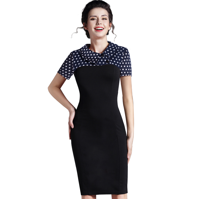 Nice-forever Elegant Vintage Fitted winter dress full Sleeve Patchwork Turn-down Collar Button Business Sheath Pencil Dress b238 35