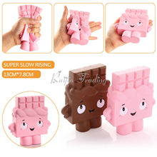 2017 New Arrival Squishy pink chocolate girl Kawaii Cute Charm Phone Strap Slow Rising Scented Food Bread Cake Kids Toy Gift Fun