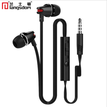 Langsdom JV23 Volume control earphone With Microphone for iphone 5s for Samsung S7 S6 S5 For xiaomi Redmi 4 Earphone for PC MP3