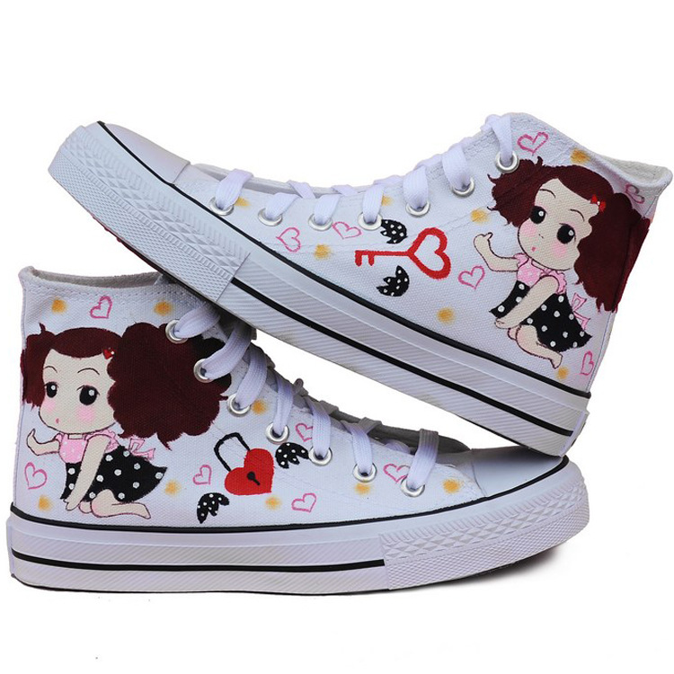 Childs Shoes New Boys and Girls Hand-painted Cartoon Confused Doll Pattern Canvas Shoes White Student Shoes size 35-39<br>