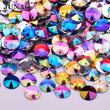 JUNAO 10mm Sewing Mixed Color Crystal AB Flatback Rhinestones Sew On Crystals Stones Round Acrylic Strass For DIY Dress Crafts
