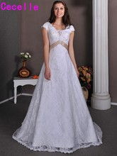 2015 Real Picture Designer Modest Lace Wedding Dresses Bridal Gowns With Sleeves Champagne Sash Corset Back Vintag Wedding Gown(China)
