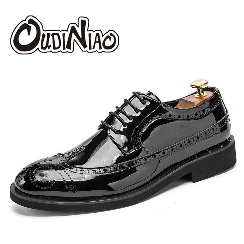 OUDINIAO Mens Shoes Casual Lace Up Large Sizes Brogue Casual Dress Shoes Men Big Size Luxury Solid Oxfords Mens Shoes 2018<br>