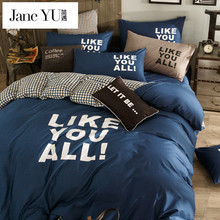 JaneYU Bed Sheets Cotton Plaid Bedding Sets Plaid De Lit Queen Duvet Cover Cotton Desinger Bed Lines Bed Cover Linen Home Bed(China)