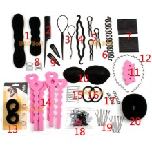 Furling Hair Styling Accessories Set Total 20pcs Free Shipping Wholesale- Bun Maker, Hair Roller, HeadBands, Hair Pins