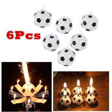 6Pcs Cute Soccer Ball Football Birthday Party Cake Candles Decorations Supplies for Baby Shower Children's Day Kids -Enjoy