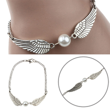 Shellhard Retro Simulated Pearl Bangle Bracelet Angel Wings Charm Bracelet for Women Fashion Jewelry Gifts