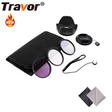 Travor 49MM 52MM 55MM 58MM 62MM 67MM 72MM 77MM UV Lens Filter Accessory Kit +Tulip Lens Hood+Snap-On Lens Cap +Carry Pouch(China)