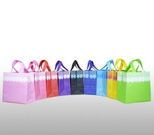 25*25*13cm 20pcs Colorful Dots&Lace gift Reusable Recycle non woven shopping bags recyle supermarket non woven bags with handles