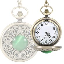 Vintage Pocket Watch Necklace Round Green Crystal Necklace Pendant Quartz Chain Watches Gifts For Mother LL@17
