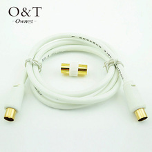 OWNEST 1m 1.5m 3m 5m  RF Fly Lead Coaxial Aerial Cable Digital TV Male to M Extension GOLD- White