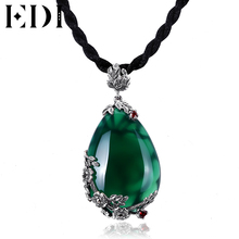 EDI Vintage 925 Silver Necklace women Red Bohemian Natural Garnet Stones Necklaces pendants Gemstone Pendant Silver jewelry Gift(China)
