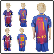 KITT BARCELONAS 789 quality Thai AAA Qualit KIDS Messis Soccer jersey Kit 2017-18 Home Away 3RD green men shirt Short-sleeves