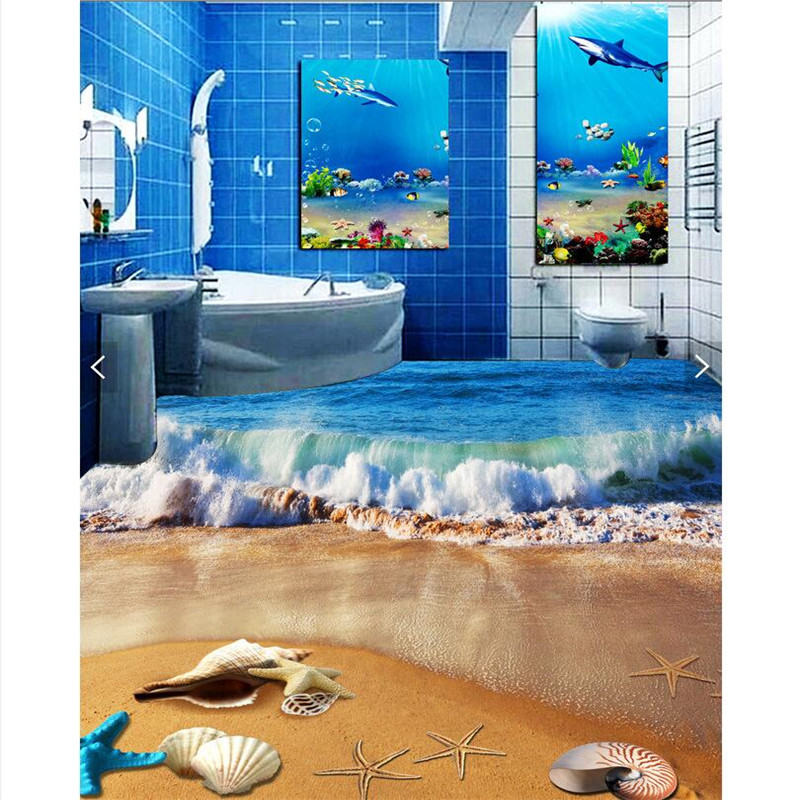 Custom Flooring Fresco High Definition Blue Wavy Cover Beach Waterproof Thickened Bathroom Kitchen Balcony Floor Painting<br><br>Aliexpress