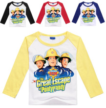 Wholesales 3-16Years Fireman Sam Shirt Boys Long Sleeve Tops Spring Girls Shirt Children Long Sleeves Tattoo Sleeves Kids No7015