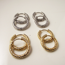 2 pieces Gold Silver 316L Brand New Stainless Steel Round Sculpture Hoop Earrings Korean Cute Circle Ear Cute Jewelry(China)