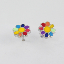 925 sterling silver tiny colorful daisy flower stud earring for baby girls