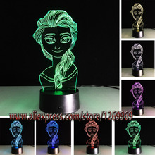 HOT Cartoon Figure 3D USB LED Lamp Princess Elsa Snow Queen 7 Color Change Mood Visual Night Light Table Beauty Girl Gift Props(China)