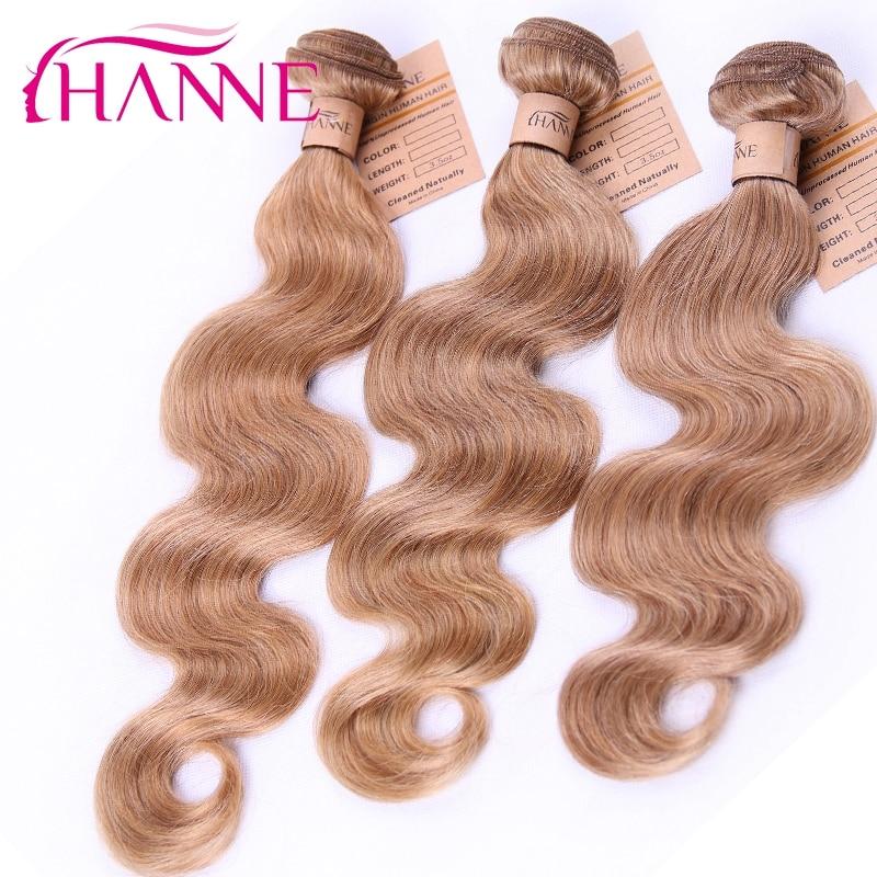 Brazilian virgin human hair extensions color 27 body wave 3 bundles/lot HANNE hair products blond color 27 brazilian human hair<br><br>Aliexpress