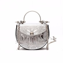 2017 Bag for Women Famous Brand Metal embossing Handbags Luxury Designer Women Round Tote Summer Straw Bag Travel Clutch(China)