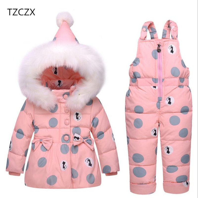 TZCZX 2pcs Winter Baby Girls Children Fashion Polka Printed Warm Duck Down Cotton Coat+pants Sets For 1-3 Years Old Kids WearÎäåæäà è àêñåññóàðû<br><br>