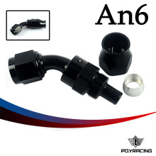 PQY RACING- Black High Quality PTEF AN6 AN-6 45 DEGREE REUSABLE SWIVEL TEFLON HOSE END FITTING AN6 PQY-SL6045-06-021(China)