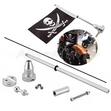 Skull Face Flag Motorcycle Bike Rear Chrome Mounting Pole For Harley Touring Sportster Dyna Softail Tri Luggage Rack