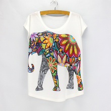 New fashion Flower Elephant printed t shirts women summer tees 2016 novelty design casual top tees for girls