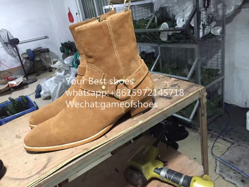 2016 fall Classic Wyatt Suede Boots tan coffee Western style Soft suede crafts streamlined harness ankle boot Leather sole 37-46<br><br>Aliexpress