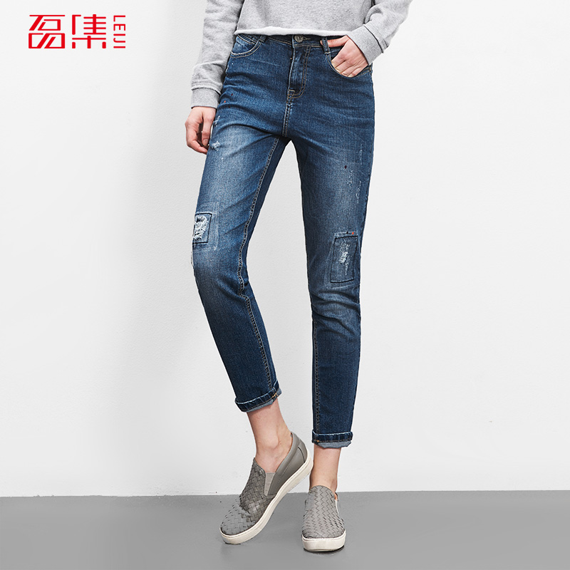 Leiji Autumn Plus Size Women 40-120KG Available Fashion Boyfriend Denim Pants Mid Waist Elastic Cotton Harem Ripped JeansОдежда и ак�е��уары<br><br><br>Aliexpress