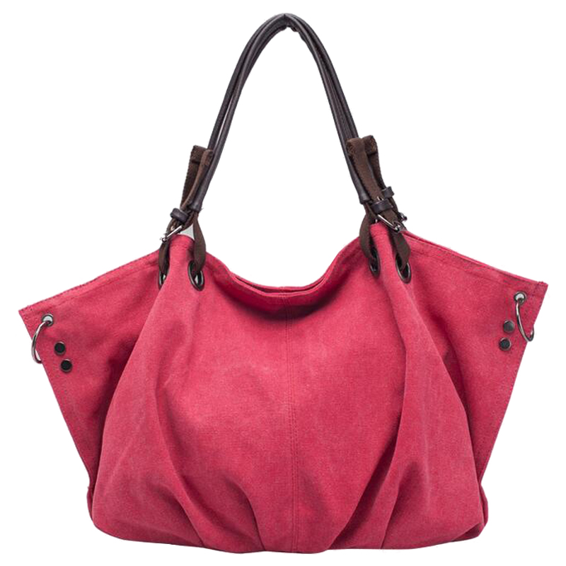5) TEXU Womens canvas fashion Leisure Shoulder Messenger cloth Bags(Rose red)<br>