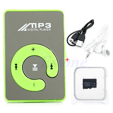 HOT SALE  Mini Mirror USB Digital Clip Mp3 Music Player+Micro SD TF Card 4GB +Earphone+USB Data Cable 8 Color Choice