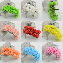 12pcs/bunch 2cm artificial flower diy flower garland headdress simulation mini rose flower foam flower bouquet