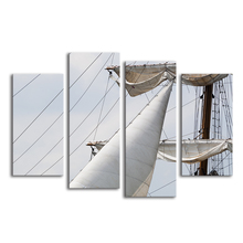 White Velas Sailing Boat Canvas Fine Arts 4 Panels Digital Photo Prints Modern Customize Giclee Printing Home Wall Decoration(China)