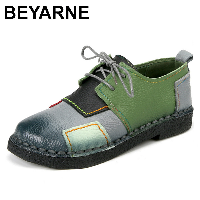 BEYARNE  Fashion Womens Handmade Shoes Genuine Leather Flat Lacing Mother Shoes Woman Loafers Soft Comfortable Casual Shoes <br>