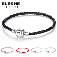 ELESHE Autnentic Unique Silver Color Clasp Genuine Leather Bracelet Fit Women Men Original Charm Bracelet Necklace DIY Jewelry(China)