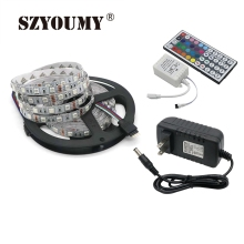 SZYOUMY 5M 5050 Led Strip 60Leds/M IP20 RGB Flex Led Strip Light + 44 Key Remote Controller + 12V 3A Power Adapter