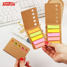 3PCS/lot Cute Kraft Paper Cover Candy Color Memo Pad N Times Sticky Note Bookmark Notepad School Office Supply Escolar Pepalaria(China)