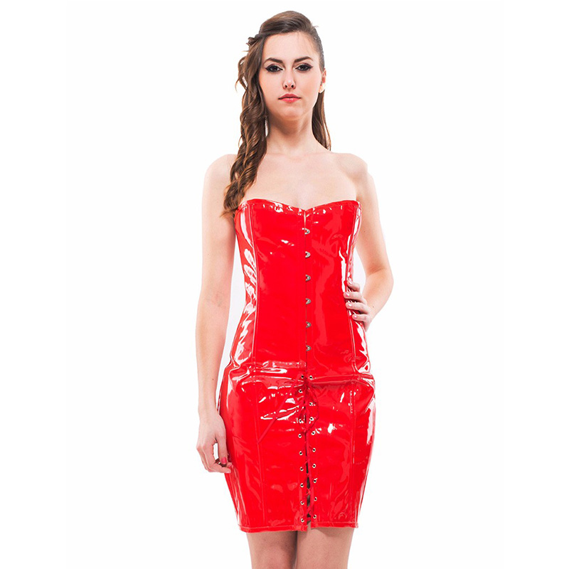 S-2XL Plus Wetlook Vinyl Leather Corset Dress Women Sexy Lingerie Long Black Red Shape Body Slim Bustiers Overbust Corsets (3)