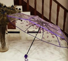 Transparent Umbrella Cherry Blossom Mushroom Sakura Women Rain Umbrella 3 Fold Romantic Prop Bumbershoot