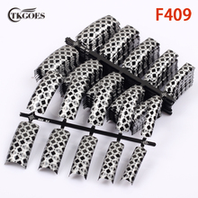 TKGOES 100pcs Acrylic fake nail art  tips half pre designed nail tips white mixed black spot patterns false nails art salon F409