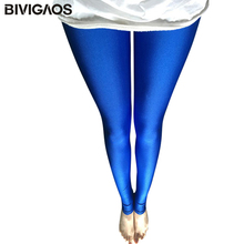 BIVIGAOS Womens Shiny Pants Thin Ice Silk Leggings Outer Wear Elastic Leggings Punk Fluorescent Colours Gloss Legging Women(China)