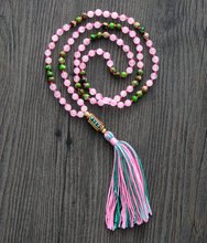 High End 6MM Natural Pink Stone Nepal Charm Long Tassel Necklace Women Statement Necklace Gift Yoga Necklace Jewelry